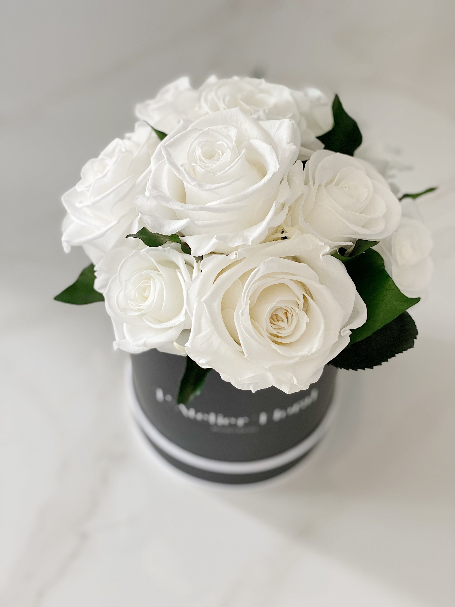 Mini Bouquet of Eternal Roses in Mix White (Black Box)