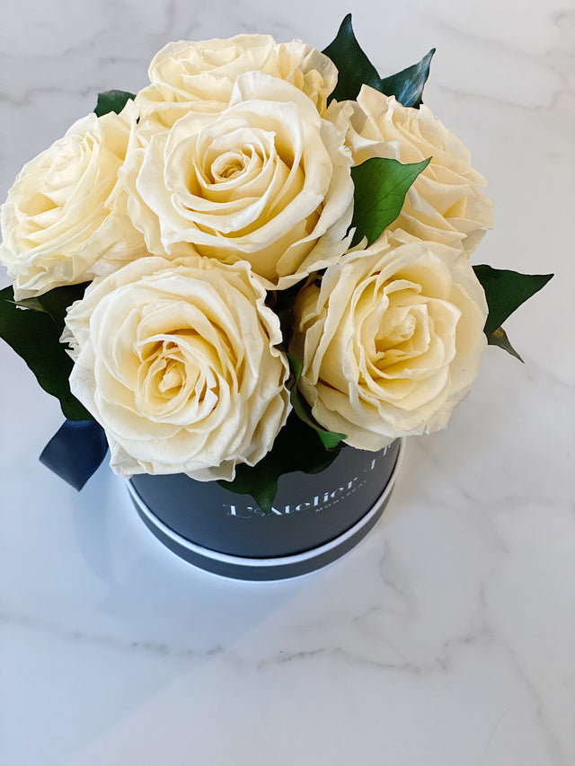Mini Bouquet of Eternal Roses in Yellow (Black Box)