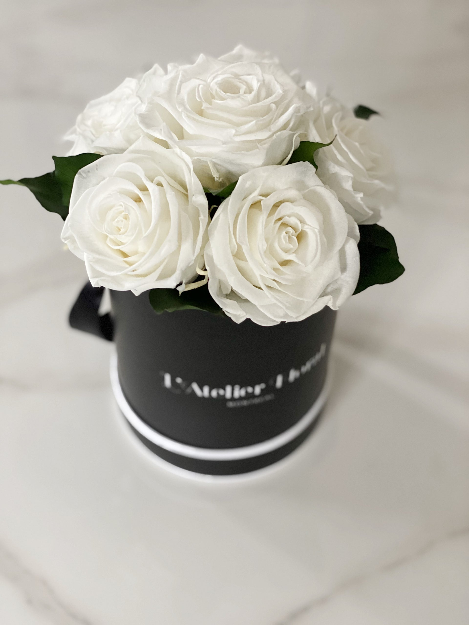 Mini Bouquet of Eternal Roses in White (Black Box)