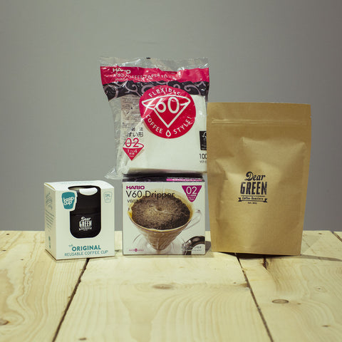 HARIO V60. Brewing Bundle. hand brew. keep cup. coffee beans. dear green. speciality coffee. 02 Paper Filter.