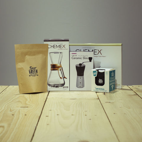 Chemex Brew Bundle. Dear Green. Hario Ceramic Slim. Keep Cup. Coffee Beans
