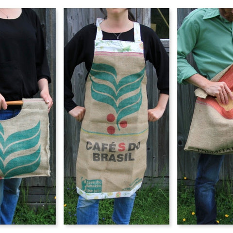 hessian jute burlap coffee sacks. up-cycle. recycle. reuse. bags.