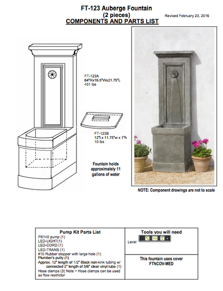 Campania International Auberge Wall Fountain Assembly Instructions