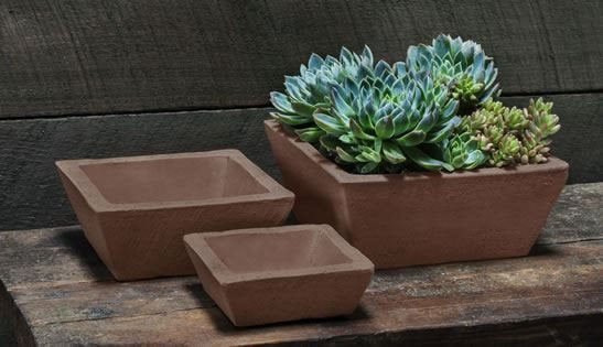 Campania International Earth Square Planter Set of Three in Peat - Life onPlum