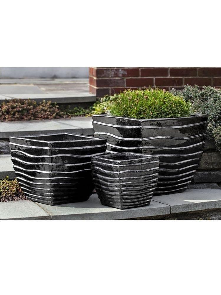 Campania International Ipanema Square Planter Set of Three in Ice Black Life on Plum