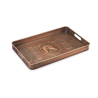 Horse Shoe Multi-Purpose Shoe Tray for Boots, Shoes, Plants, Pet Bowls, and More, Copper Finish by Good Directions