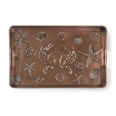 Seashore Multi-Purpose Shoe Tray for Boots, Shoes, Plants, Pet Bowls, and More, Copper Finish by Good Directions