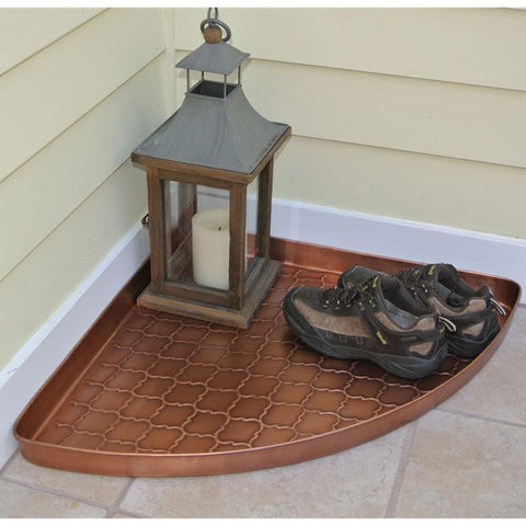 Image of Barcelona Multi-Purpose Shoe Tray for Boots, Shoes, Plants, Pet Bowls, and More, Copper Finish by Good Directions Life on Plum