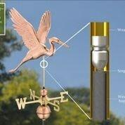 Graceful Blue Heron Weathervane - Polished Copper by Good Directions