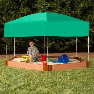 Frame It All Hexagon Sandbox 2in 7x8ft 1 Level c/w with Telescoping Canopy/Cover
