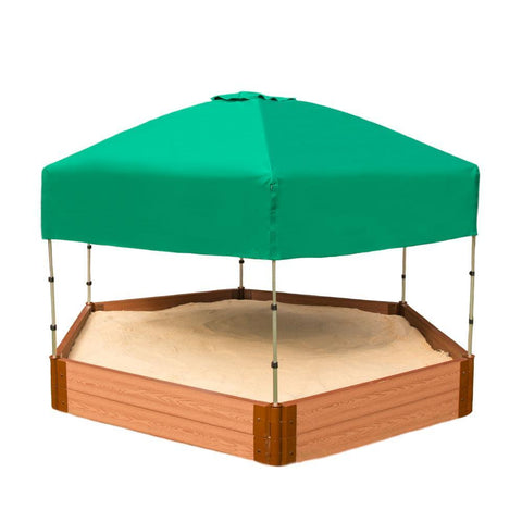 Frame It All Hexagon Sandbox 2in 7x8ft 2 Level c/w Telescoping Canopy/Cover