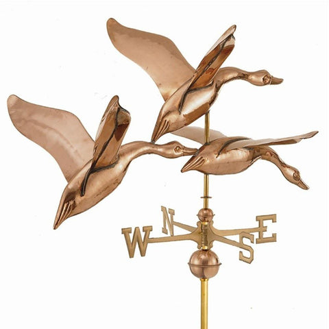 "42"" 3 Geese in Flight Estate Weathervane - Polished Copper by Good Directions The Garden Gates"