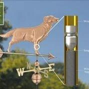 Golden Retriever Weathervane with Arrow - Polished Copper by Good Directions