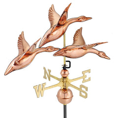 "28"" 3 Geese in Flight Weathervane - Polished Copper by Good Directions Life on Plum"