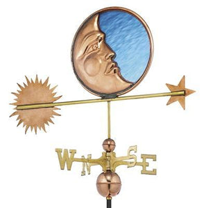 Stained Glass Moon Weathervane - Polished Copper by Good Directions