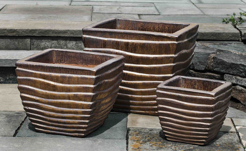 Campania International Ipanema Square Planter Set of 3 in Bronze Life on Plum