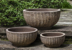 Campania International Antique Lattice Basket of Three in Antico Terra Cotta Life on Plum