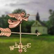 Angel Cottage Weathervane - Polished Copper w/Roof Mount by Good Directions Life on Plum