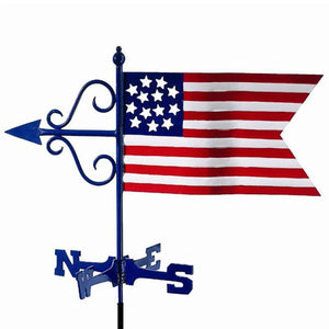 Americana Flag Cottage Weathervane w/Roof Mount by Good Directions Life on Plum
