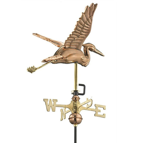 Image of Blue Heron Cottage Weathervane - Polished Copper with Roof Mount by Good Directions Life on Plum