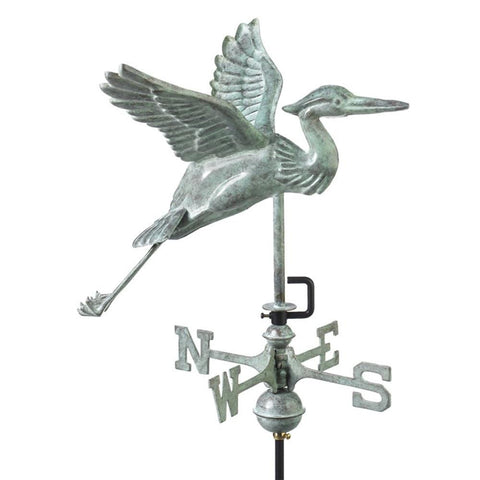 Blue Heron Cottage Weathervane - Blue Verde Copper w/Roof Mount by Good Directions Life on Plum