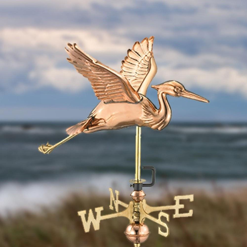 Blue Heron Cottage Weathervane - Polished Copper with Roof Mount by Good Directions Life on Plum