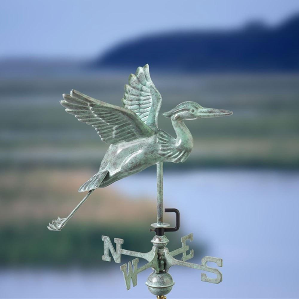 Blue Heron Cottage Weathervane - Blue Verde Copper with Roof Mount by Good Directions Life on Plum