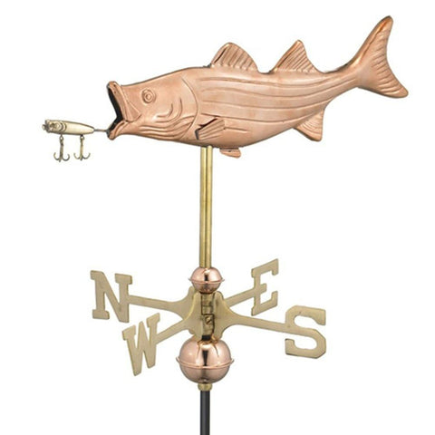 Image of Bass with Lure Garden Weathervane - Polished Copper w/Garden Pole by Good Directions Life on Plum