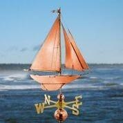 Racing Sloop Weathervane - Polished Copper by Good Directions Life on Plum