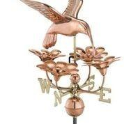 Hummingbird with Flowers Weathervane - Polished Copper by Good Directions Life on Plum