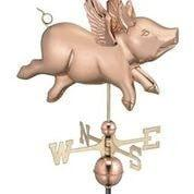 Image of Flying Pig Weathervane - Polished Copper by Good Directions Life on Plum