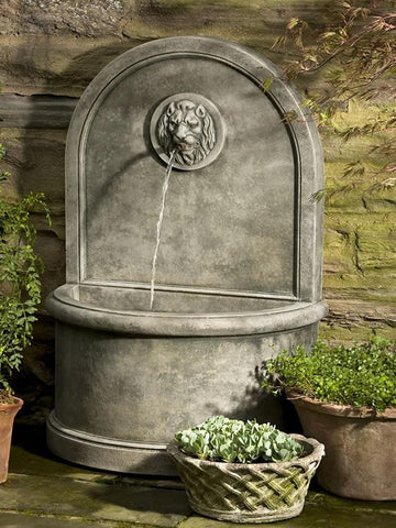 Image of Campania International Lion Wall Fountain Life on Plum