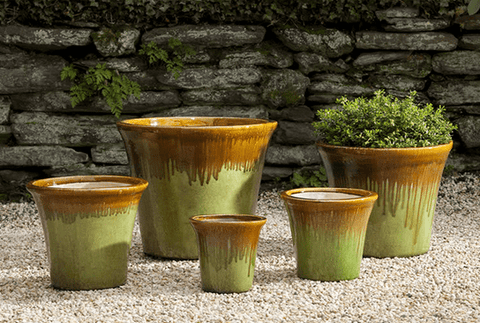 Campania International Delphine Planter Set of 5 in Carmel Apple Green-Life on Plum by Campania International