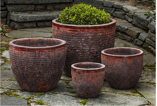 Campania International Aspara Planter Set of Four in Angkor Red Life on Plum