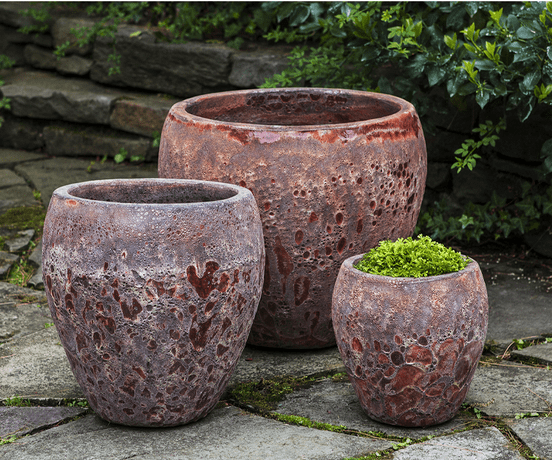 Campania International Symi Planter Set of 3 in Angkor Red Life on Plum