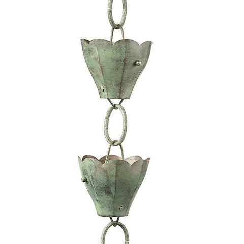 13 Cup Tulip Rain Chain - Blue Verde Copper by Good Directions Life on Plum