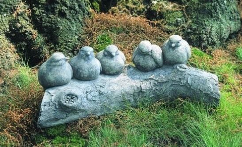 Image of Campania International Birds on a Log Garden Statue Life on Plum