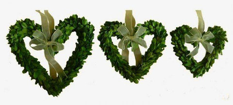 Image of Mills Floral Preserved Boxwood Heart Wreath Set with Ribbon Life on Plum
