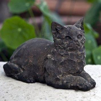 Image of Campania International Cleo Cat Garden Statue Life on Plum
