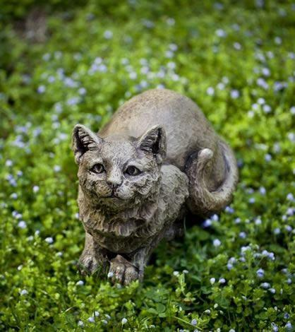 Image of Campania International Patience the Cat Garden Statue Life on Plum