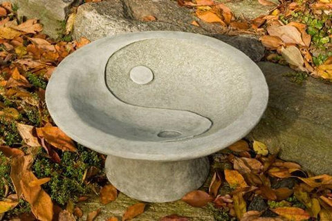 Campania International Yin Yang Pedestal Birdbath Life on Plum