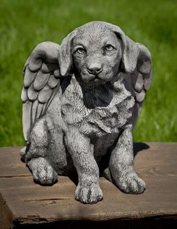 Image of Campania International Angel Puppy Garden Statue Life on Plum