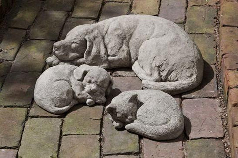 Image of Campania International Curled Dog Statue Life on Plum
