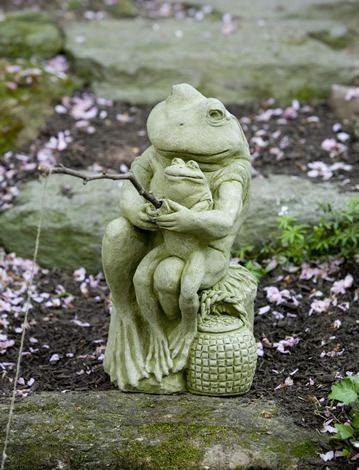 Image of Campania International Gone Fishin Frog Statue Life on Plum