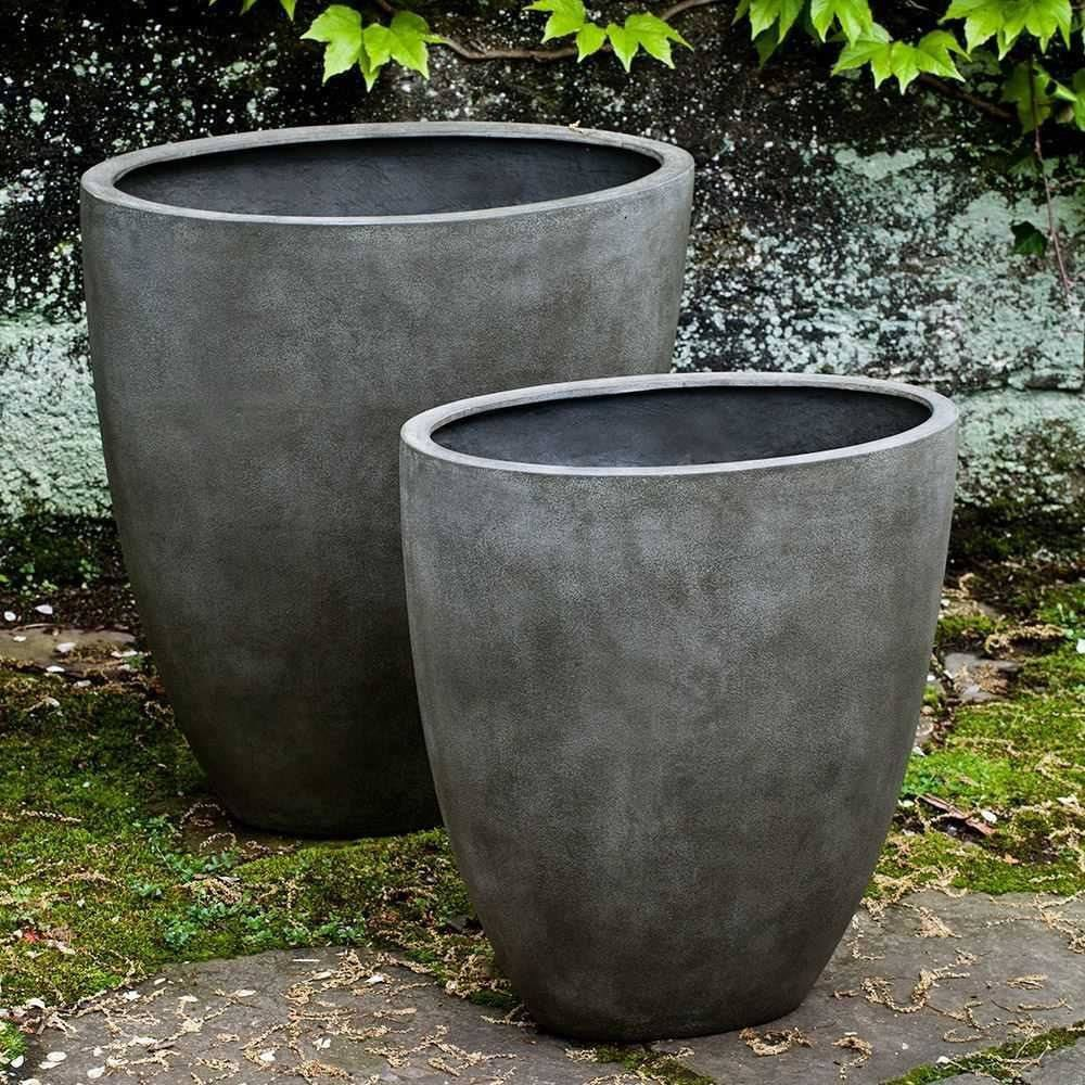 Campania International Tall Oval Lite Planter Set of 2 in Concrete Lite Life on Plum