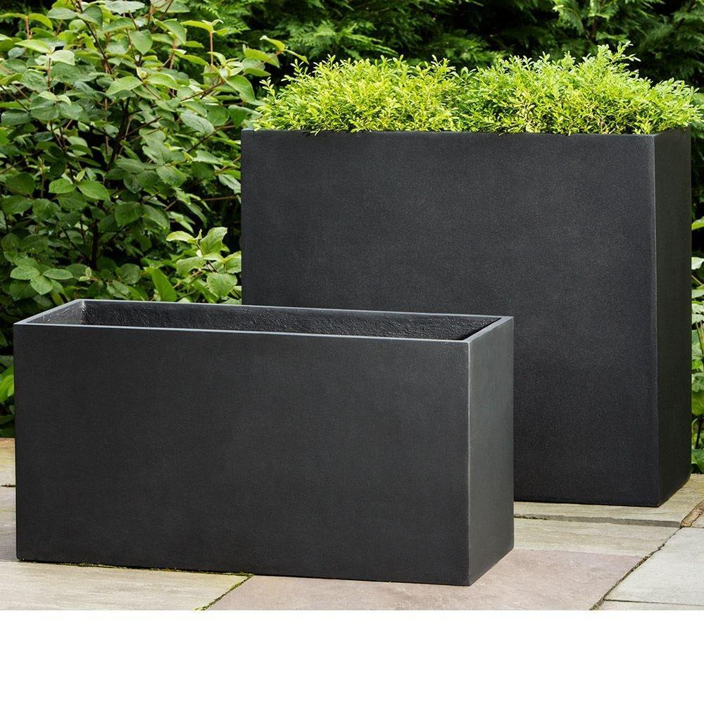 Campania International Modular Planter 7 in Onyx Black Lite Life on Plum