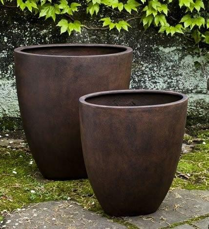 Campania International Tall Oval Lite Planter Set of 2 in Rust Life on Plum