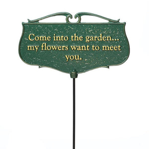 Come into the Garden... - Garden Poem Sign Life on Plum
