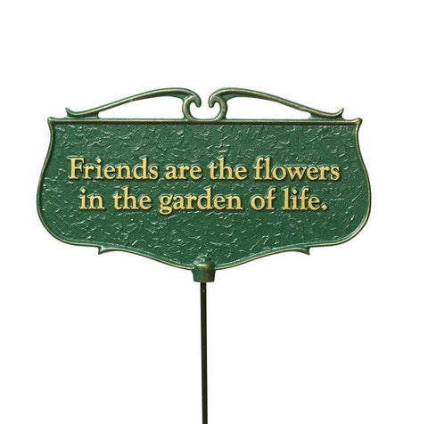 Friends are the Flowers... - Garden Poem Sign Life on Plum