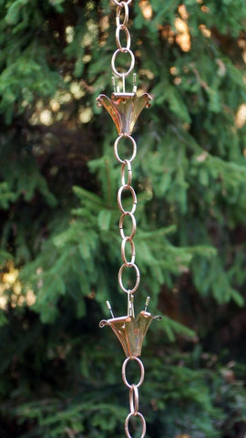 Good Directions Watering Can with Flowers Rain Chain in Polished Copper